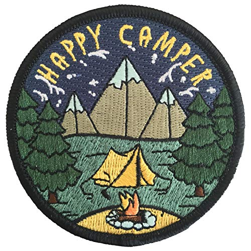 O'Houlihans - Happy Camper Patch - Adventure Travel Hiking Camping Patch - Iron on Patch (Vintage Boy Scout Backpack)