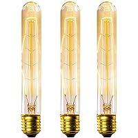 KINGSO 3 Pack E27 Edison Ampoules à Incandescence Vintage Lampe Filament Décorative T30 40W 220V Blanc Chaud Idéal pour Nostalgie et Eclairage Antique