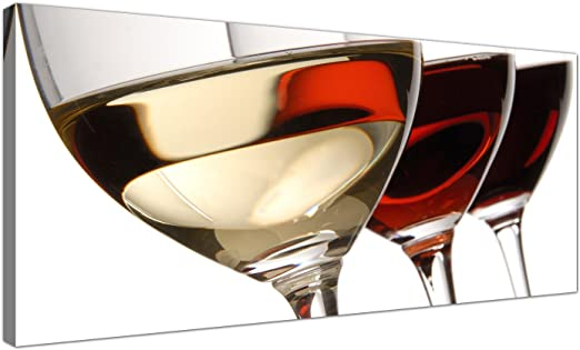 Wallfillers - Lienzo con diseño de juego de copas de vino, para comedor, diseño panorámico, arte para pared, a la moda, 1067: Amazon.es: Hogar