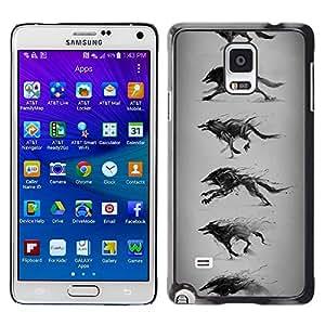 """For Samsung Galaxy Note 4 Case , Lobo que corre Dibujo Lápiz Arte del perro salvaje"""" - Diseño Patrón Teléfono Caso Cubierta Case Bumper Duro Protección Case Cover Funda"""