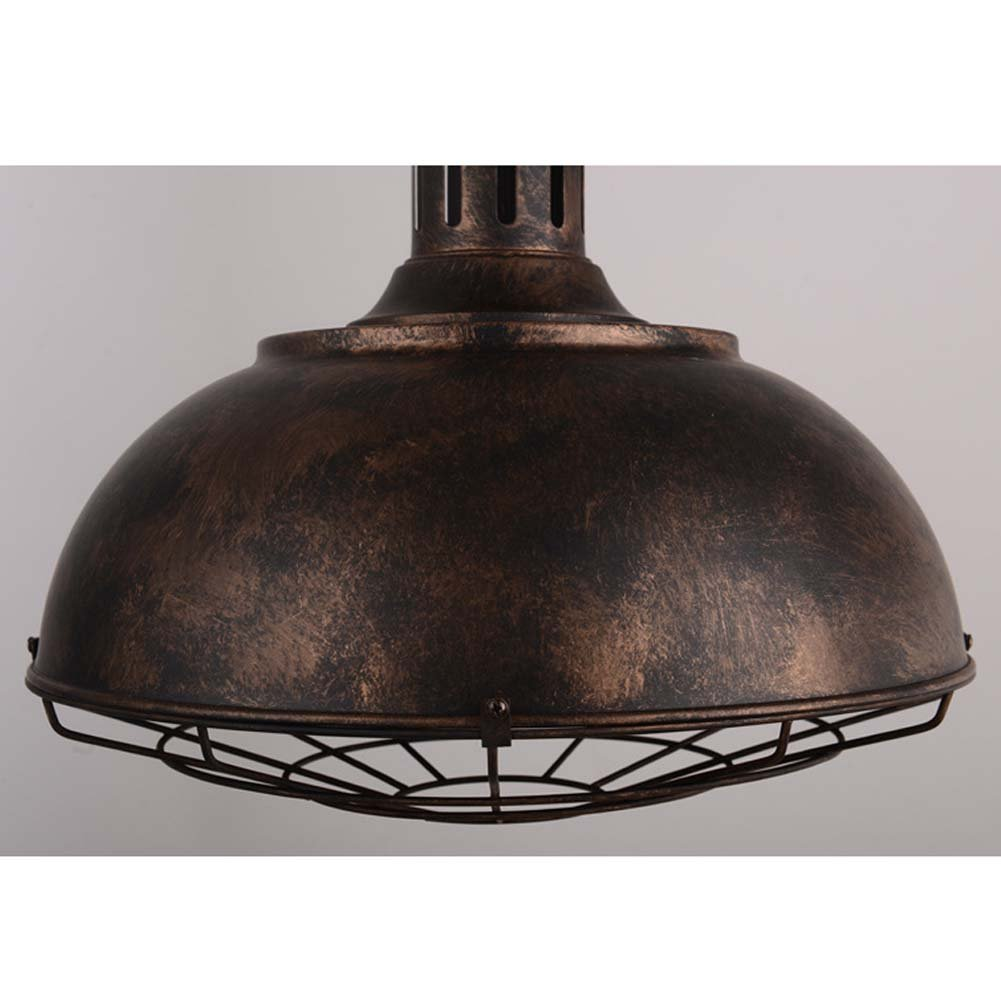 Neo-Industrial Nautical Barn Cage Pendant Light - LITFAD 16'' Single Pendant Lamp with Rustic Dome/Bowl Shape Mounted Fixture Ceiling Light Chandelier in Copper by LITFAD (Image #7)