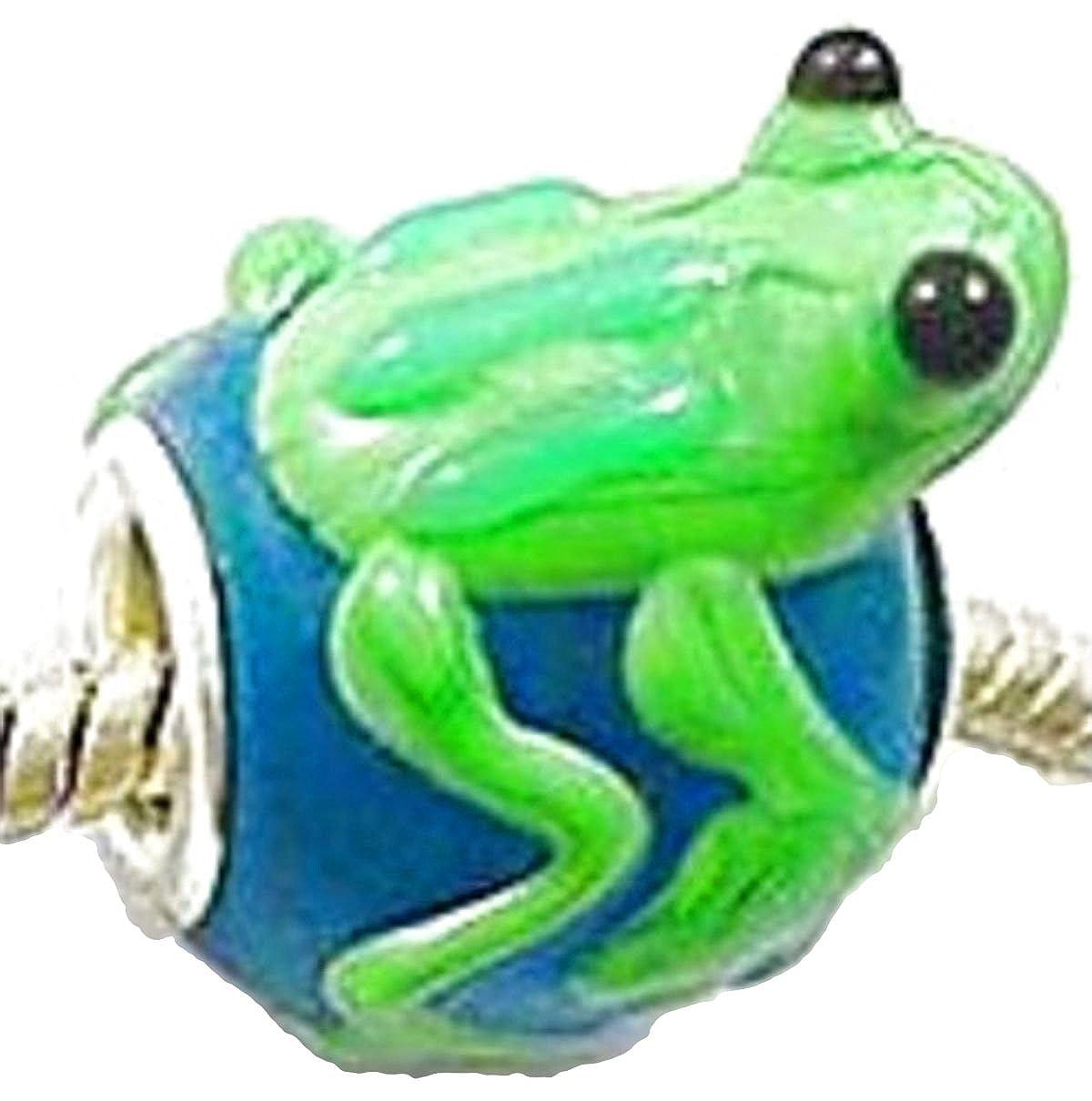 Perles de verre Charm Buddy faite /à la main pour bracelets /à breloques filles femmes et enfants grenouille bleu-vert
