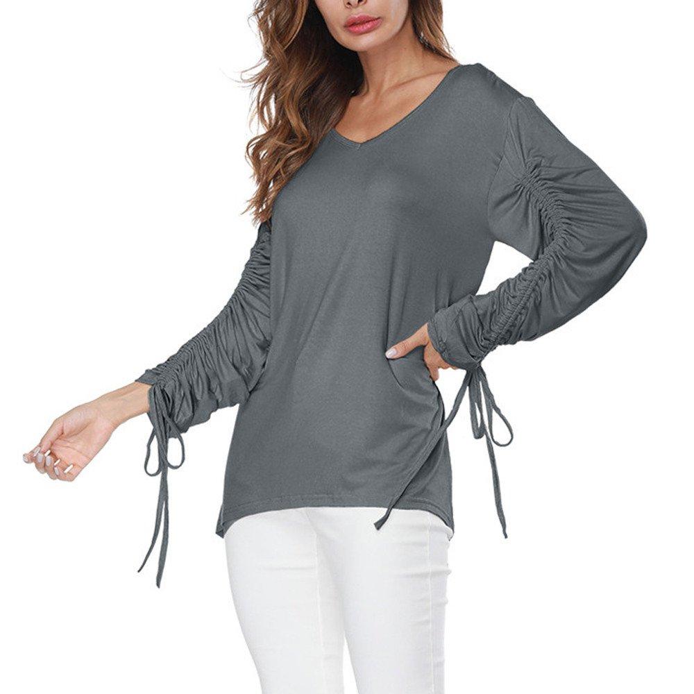 e420e476401a82 outlet Damen Tops Plus Size Blusen Frauen V-Ausschnitt Bandage Lange Ärmel  Pure Color Tops