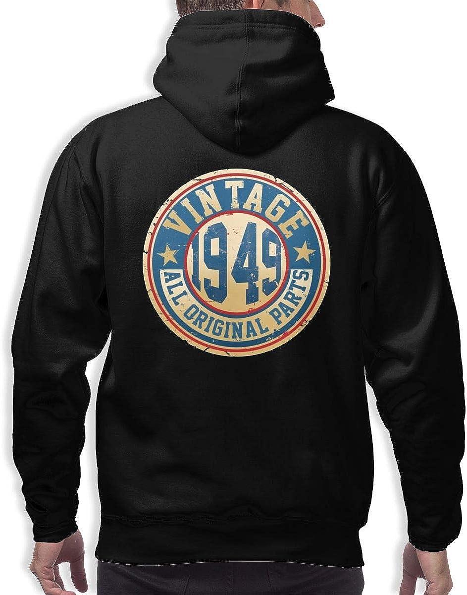 Vintage 1949 All Original Parts 70th Birthday Mens Hoodie Hooded Sweatshirt Pullover Hoodie with Pockets