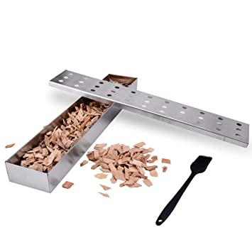 RUN ANT Caja de ahumador de Acero Inoxidable Ahumado Caja de Parrilla a la Barbacoa para barbacoas Maderas Chips, Incluyendo Aceite Cepillo