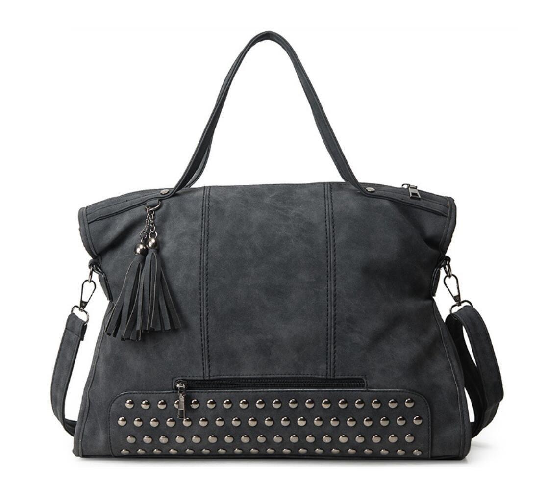 Punk Motorcycle Rivet Studded Cross Body Bag Women Pu Leather Top Handle Handbag Hobo Satchel Tassels Black