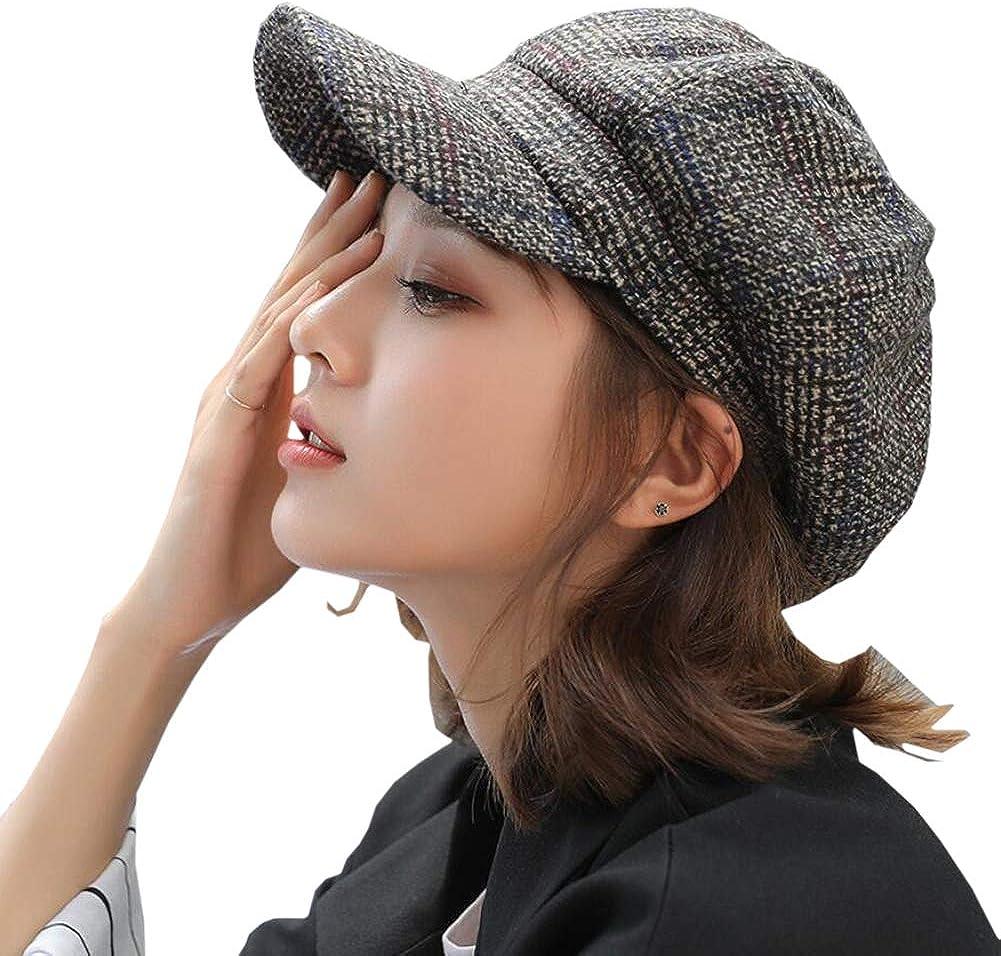 Classic-Cabbie Paperboy Painter Newsboy Cap Women Tweed-Plaid Newsboy-Hats Cabbie