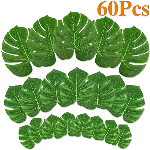 MOMOTOYS 60pcs Palm Leaves Tropical Party Decorations Luau Decorations Moana Party Supplies Hawaiian Party Decorations Luau Party Supplies Tropical Palm Leaves for Table Decorations by MOMOTOYS