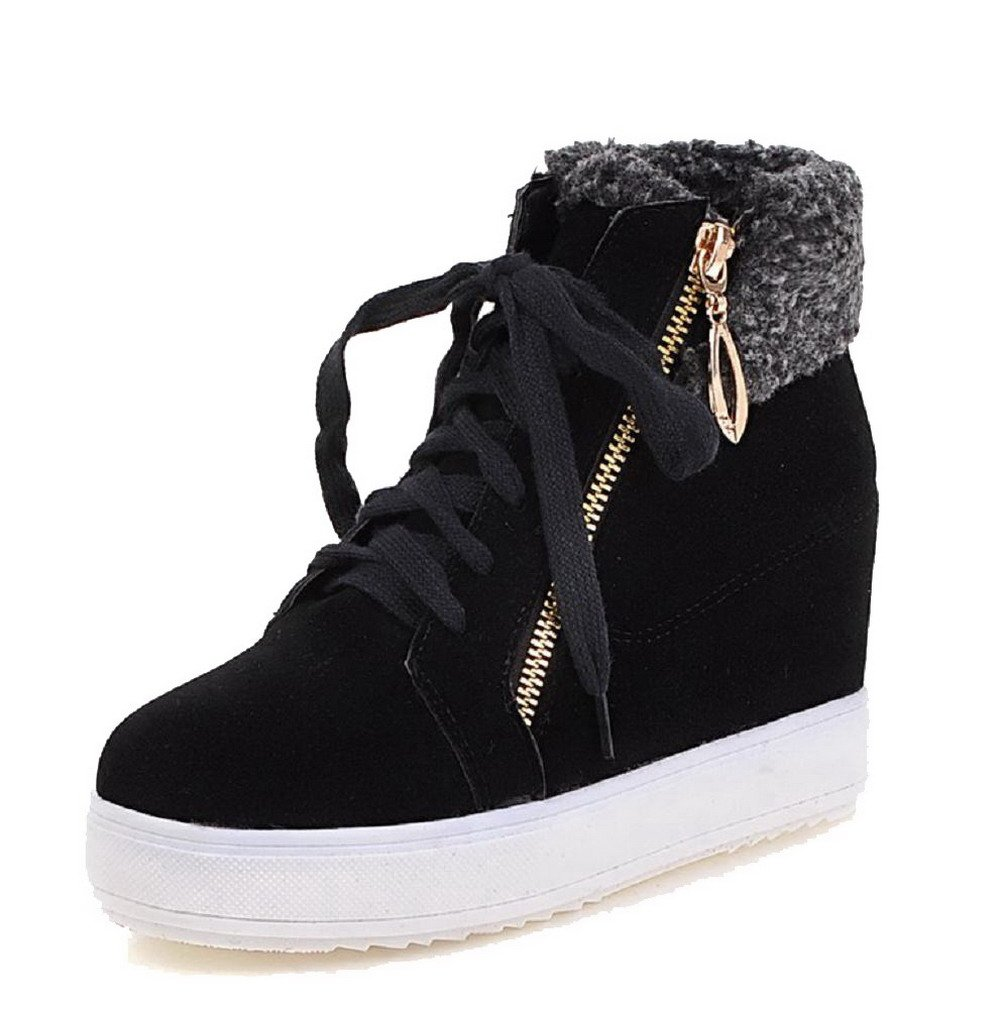 VogueZone009 Women's High-Heels Solid Round Closed Toe Frosted Chains Boots, Black, 41
