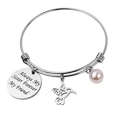 REEBOOO Sister Birthday GiftAlways Sisters Forever FriendsUnique Gift For Charm