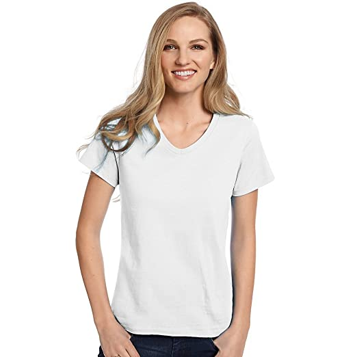 b0c2162bf Image Unavailable. Image not available for. Color: Hanes Women's ComfortSoft  V-Neck Cotton T-Shirt