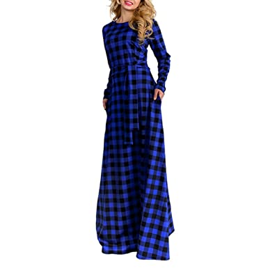 Women Elegant Long Sleeve Plaid Plus Size Long Maxi Dress Floor Length Cocktail Evening Party Dress
