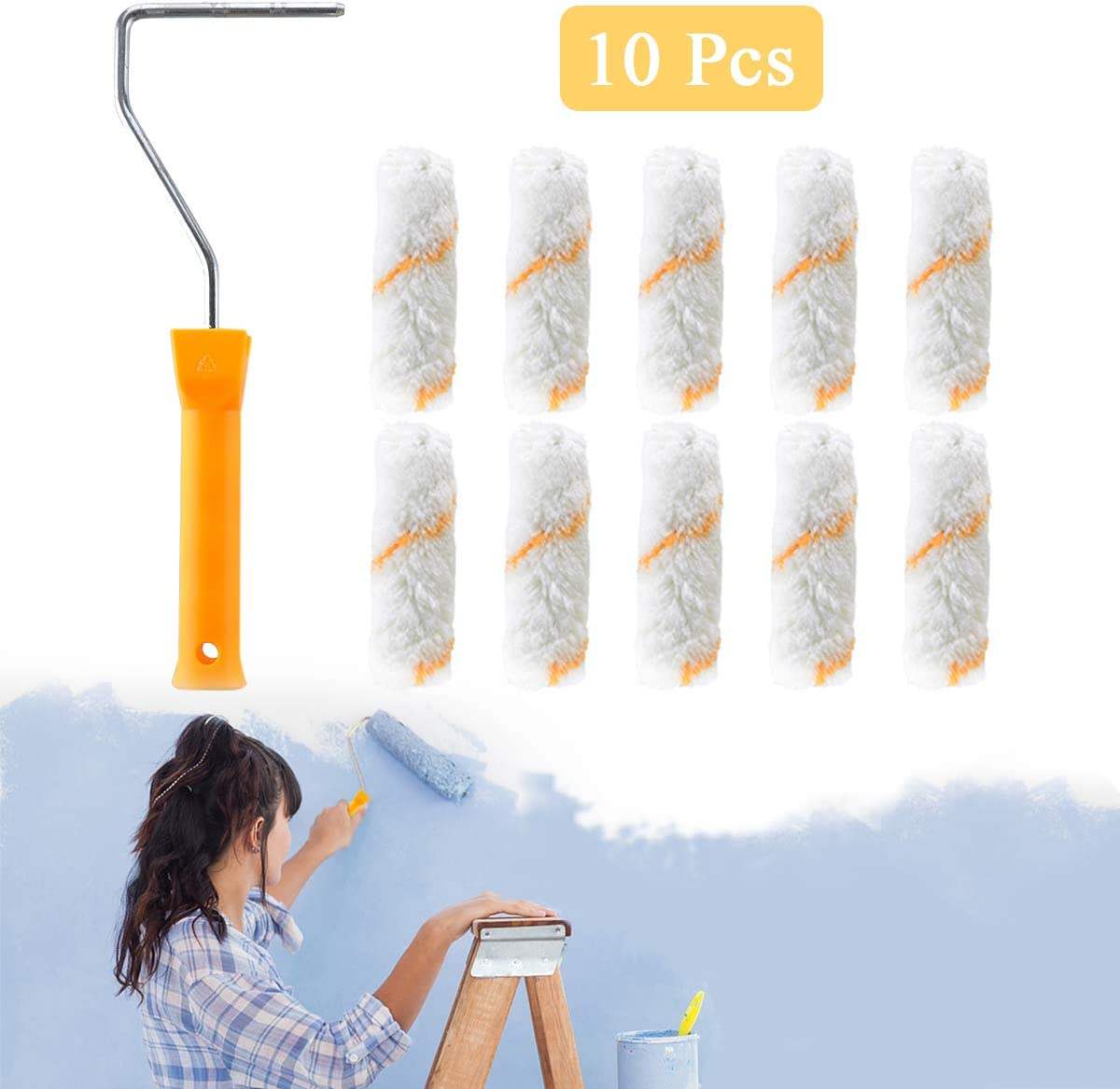 Wall Paint Brushes Essort Wall Paint Roller Corrosion Resistance Home Painting Brush 4 Mini Paint Roller with 10 Pcs Replacement Roller Covers House Decoration Painting Supplies