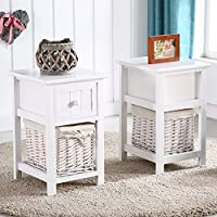 Gracelove Pair of Retro White Chic Nightstand End Side Bedside Table w/Wicker Storage Wood (Type 1)