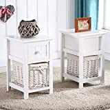 Eight24hours Pair of Retro White Chic Nightstand End Side Bedside Table w/Wicker Storage Wood