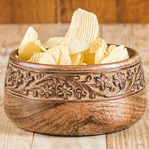 Rusticity Wood Serving Bowl/Salad bowl|Mango (Painted Wood Bowl)