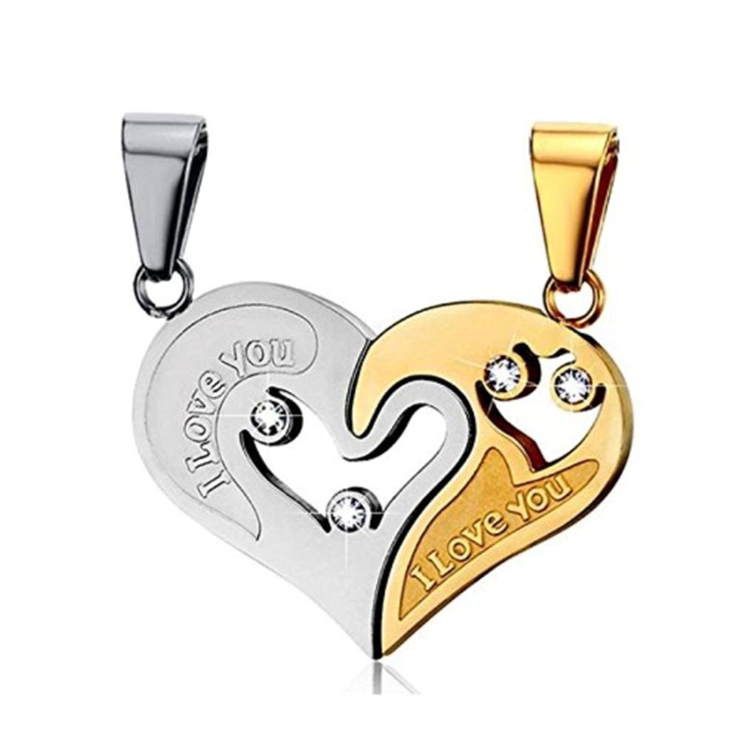 949bf91572b29 Yutii Our Heart Two Piece 316 Stainless Steel Couple Pendant Necklace Set  For Men & Women