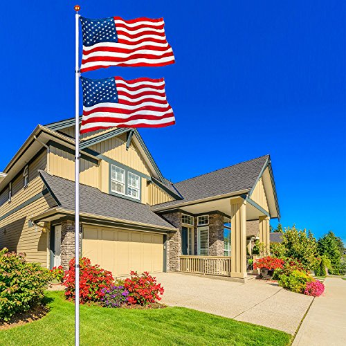 NSdirect 25 ft Telescopic Aluminum Flagpole Flag Pole Kit - Can Fly 2 Flags - Free 3'x5' US American Flag - Gold Ball Fly Top Finial - Outdoor Home Garden Festival Décor (25 FT)