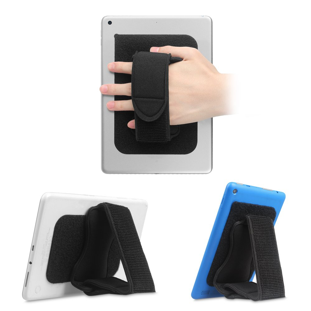 Fintie Universal Tablet Hand Strap Holder - [Dual Stand Supports] Detachable Padded Hook & Loop Fastening Handle Grip with Adhesive Patch for iPad, Samsung, Amazon Fire and All 7-10'' Tablets, Black