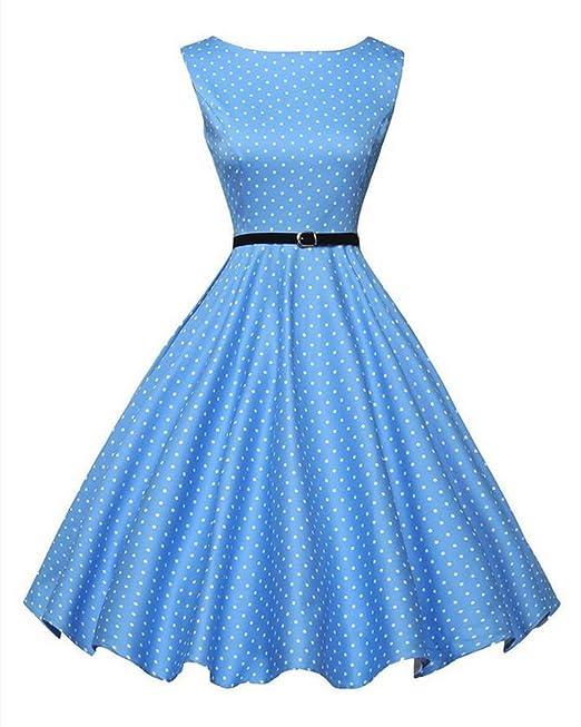 GUOCU Las Mujeres de Cintura Alta Azul y Blanco Lunares Años 50 Vintage Estilo Hepburn Vestidos
