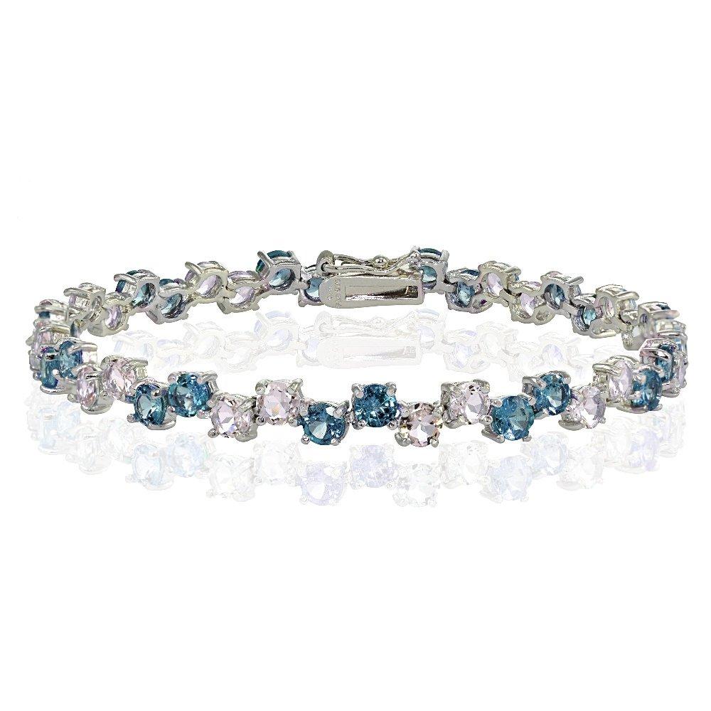 Sterling Silver 4mm Tanzanite and London Blue Topaz Round Bracelet