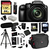 Panasonic FZ80 Lumix Camera, Transcend 64GB Memory Card, Polaroid Professional Microphone, Polaroid Tripod, Flash, Camera Bag, and Accessory Bundle