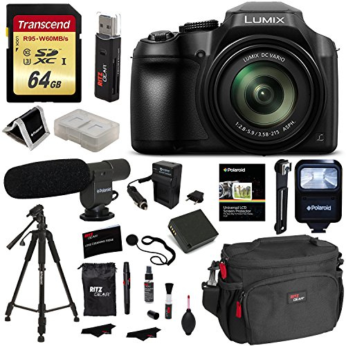 Panasonic FZ80 Lumix Camera, Transcend 64GB Memory Card, Polaroid Professional Microphone, Polaroid Tripod, Flash, Camera Bag, and Accessory Bundle by Ritz Camera