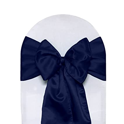 amazon com satin chair sashes navy blue pack of 10 home kitchen