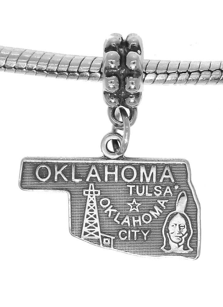 Sterling Silver Travel State MAP of Oklahoma Dangle European Bead Charm Jewelry Making Supply Pendant Bracelet DIY Crafting by Wholesale Charms