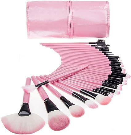 Juego profesional de brochas de maquillaje TopSuper® de madera, kit de maquillaje color rosa (32 unidades): Amazon.es: Belleza