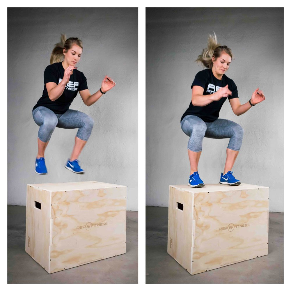 Rep 3 in 1 Wood Plyometric Box for Jump Training and Conditioning 30//24//20 16//14//12 24//20//16 20//18//16