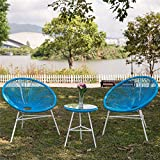 PatioPost Outdoor Acapulco Chair 3 Piece Bistro Set Patio Furniture Sets with Glass Top Table - Blue