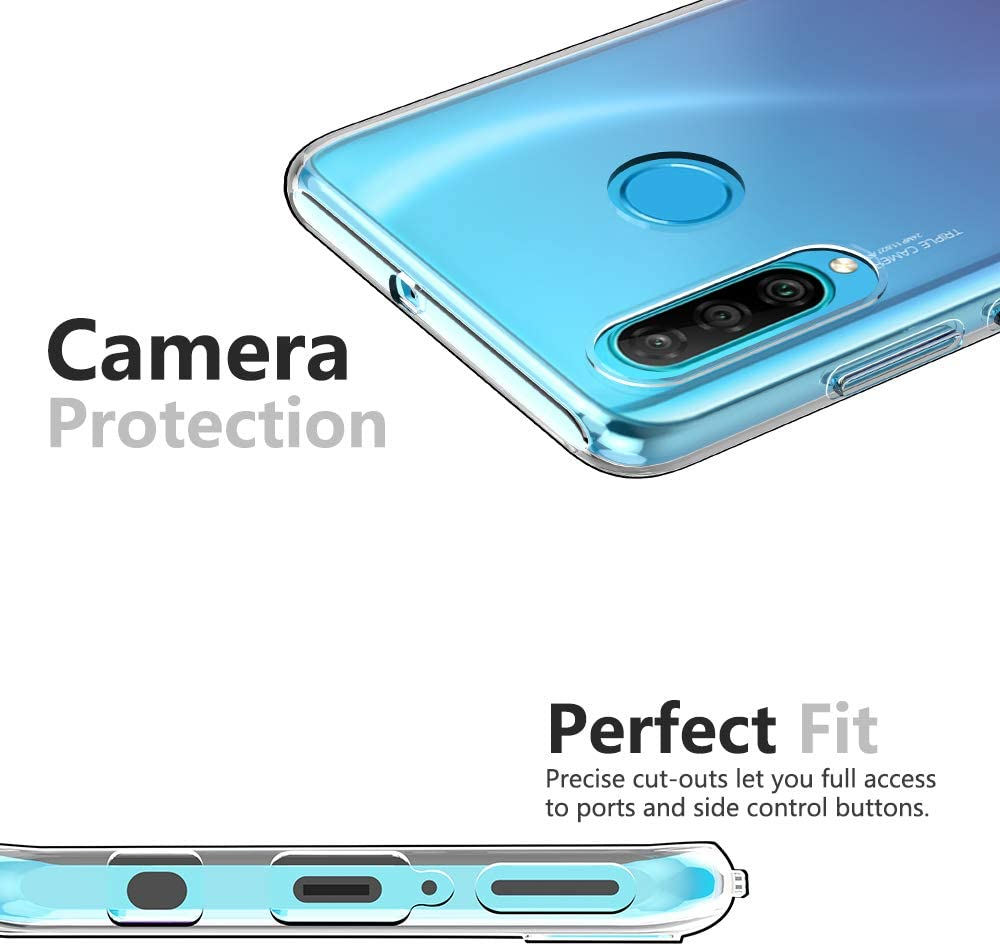 HUIZHIHUA Funda Compatibles para Huawei P30 Lite Carcasa Caja Anti-Shock protecci/ón de c/áscara Antichoque Dura Caso Cover Mate Bumper Parachoques Case-Oro negro