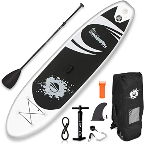 SereneLife Premium Inflatable Stand Up Paddle Board (6 Inches Thick) with SUP Accessories & Carry Bag | Wide Stance, Bottom Fin for Paddling, Surf ...