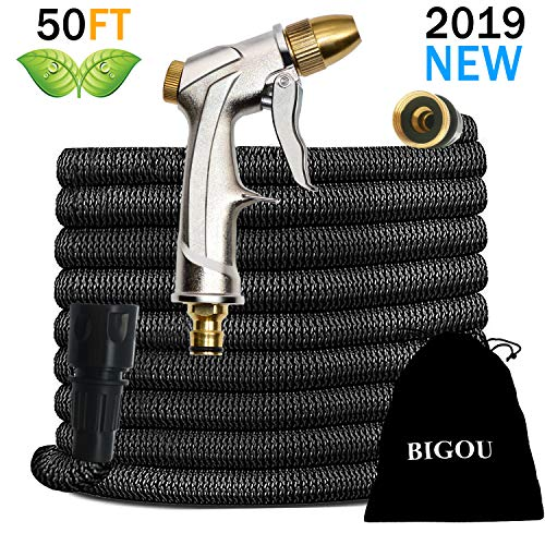 BIGOU Garden Hose 50ft - 2019 New Lightweight Water Hoses Expandable w/Heavy Duty Metal Spray Nozzle Gun,3/4'' Quick Connect Expanding Garden Hoses,Leakproof & Flexible for Car Wash,Outdoor,Watering