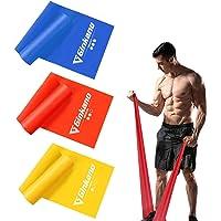 Haquno Bandas Elasticas Fitness[Set de 3] 1.5M /1.8M /2M,Cintas Elasticas con 3 Niveles de Resistencia, Pilates…