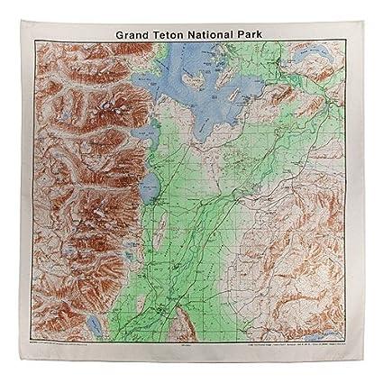 Amazon.com : Grand Tetons Topographical Map Bandana : Outdoor ...