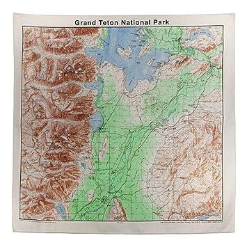 Amazoncom Grand Tetons Topographical Map Bandana Outdoor - Topographical map