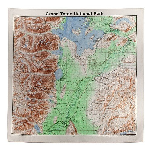 Grand Tetons Topographical Map Bandana