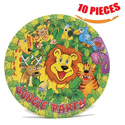 (Aosheng Deluxe Party Supplies Paper Desser/Dinner Disposable Plates Set: 7-Inch, 10/Pkg, Jungle Theme for Boy/Children)
