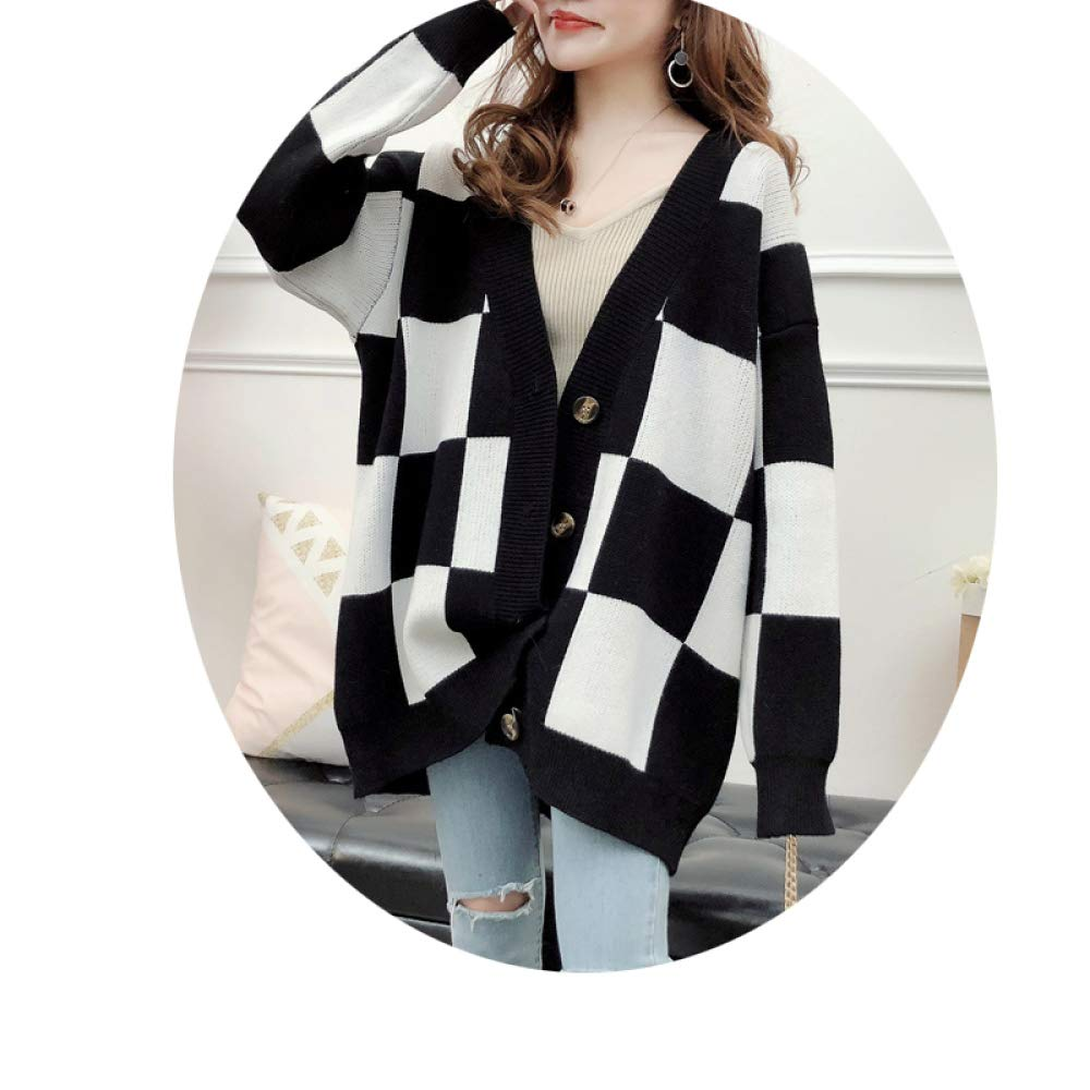Black 2XL [130-160 kg] Black 2XL [130-160 kg] CLOTHES Large Size Fat Mm Long Plaid Long Sleeve Sweater Coat, 2018 Autumn and Winter Knit Cardigan Blouse