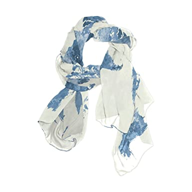Sunlome womens scarves watercolor blue world map shawl wraps silk sunlome womens scarves watercolor blue world map shawl wraps silk scarf for women gumiabroncs Image collections