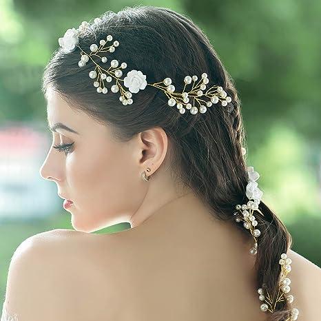 handcess boda flor blanca de pelo Vine diadema pelo banda Boho Flor Novia accesorios para el