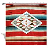 CafePress Vintage Red Mexican Serape Decorative Fabric Shower Curtain (69''x70'')