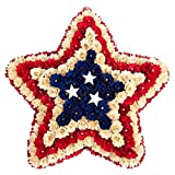 Patriotic Wreath Decoration – Star-Shaped Floral Wooden Wreath, US/USA American Flag Indoor Outdoor Hanging Wreath for Event Decor, Funerals, Homecoming – 19 x 3.8 x 18.5 Inches For Sale
