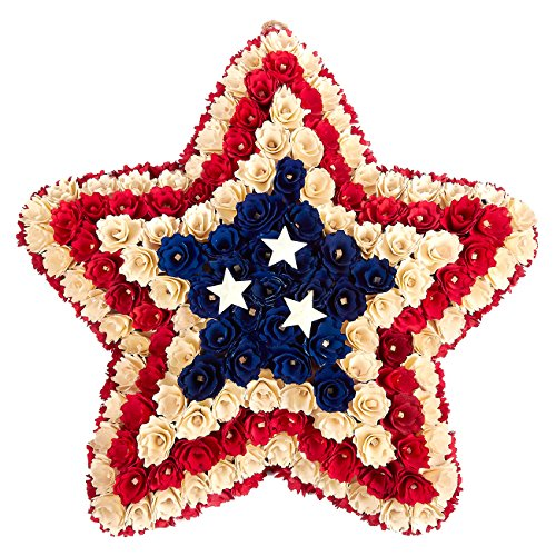 Patriotic Wreath Decoration – Star-Shaped Floral Wooden Wreath, US/USA American Flag Indoor Outdoor Hanging Wreath for Event Decor, Funerals, Homecoming – 19 x 3.8 x 18.5 (Funeral Wreath)