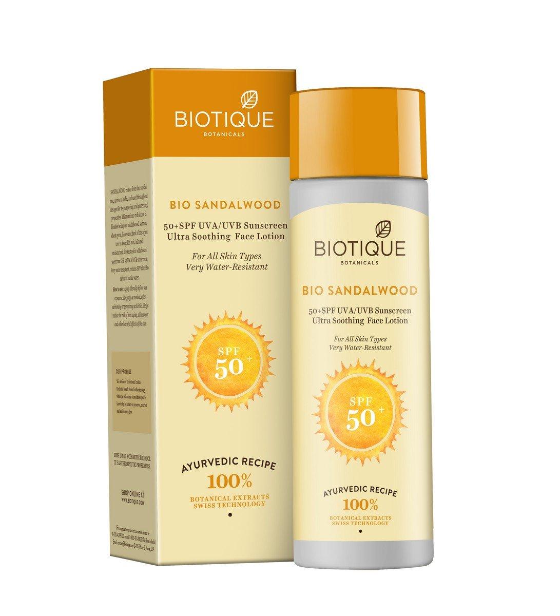 Biotique Sandalwood viso e corpo crema solare SPF 50UVA/UVB Bio Veda Action Research Co RETML120011