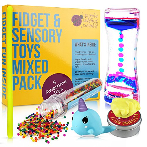 Fidget Toys Mega Mix Pack - Mixed Pack of 5 Sensory Toys for Stress Relief Includes Motion Timer, Slow Rising Squishy, Color Changing Putty for Kids, Stretchy Noodle, Kids Water Beads (Pack Apl)