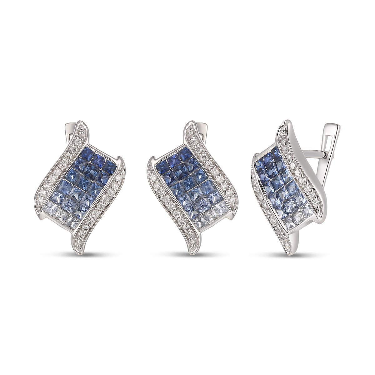 Mother's Day Gift, 14K Gold Sapphire Earring with Diamond,Sapphire Earrings, Diamond Earrings