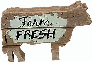 Parisloft Farm Fresh Wood Cow Shaped Sign Tabletop Decor, Carved Cow Statue Home Decor, Animal Sculpture Decorations